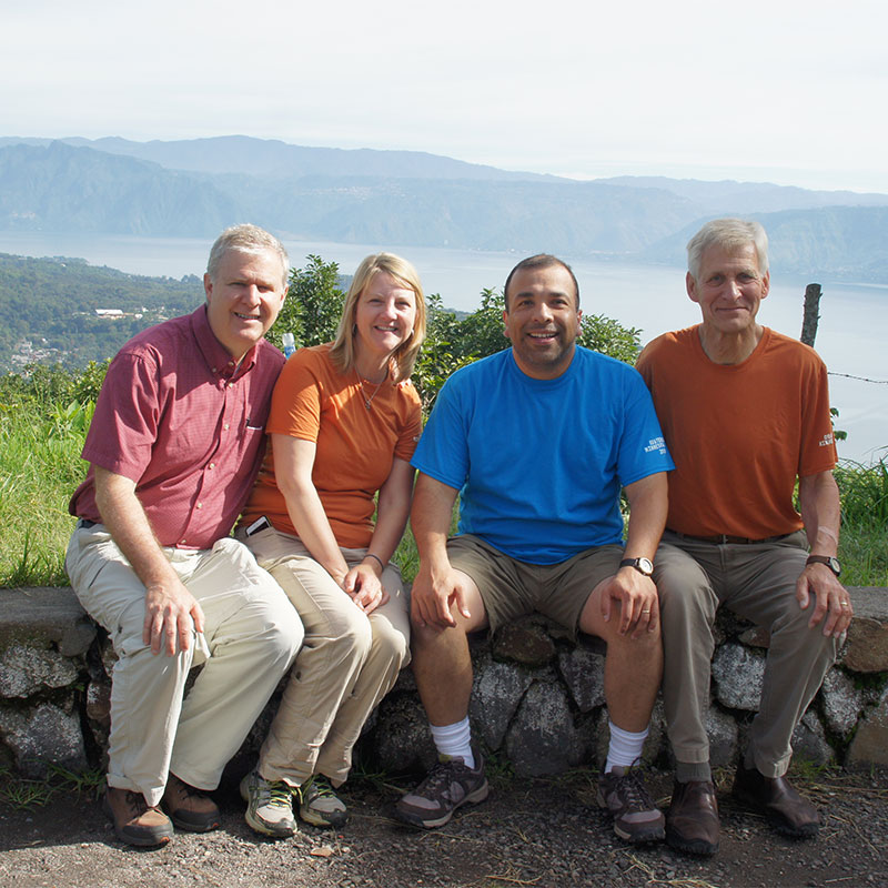 Dr. Daniel Fuglestad, his wife, Armando and Dr. Burnell Mellema take some time to enjoy the beautiful views in Guatemala.