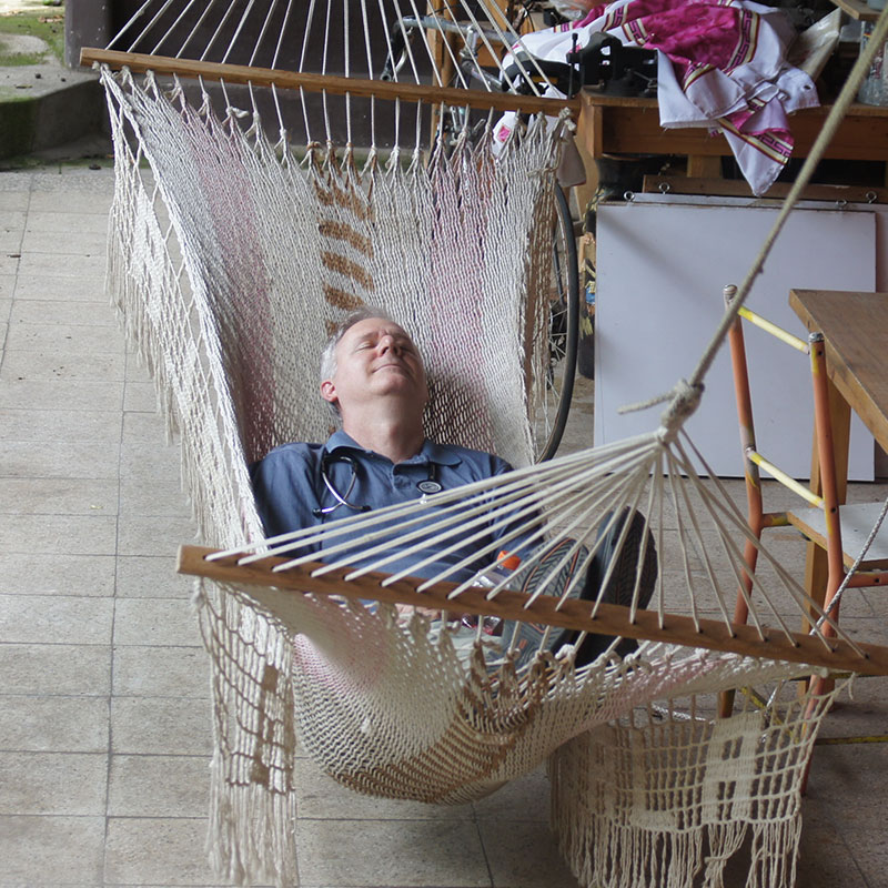 Dr. Fuglestad was one of the members on the medical missions who got sick while in Guatemala, but after a quick rest on the hammock he got back to seeing patients.